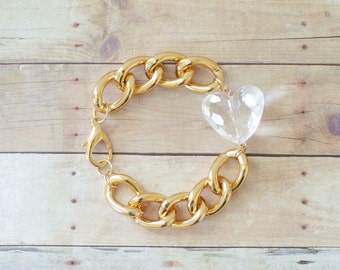 Chunky Gold Chain Bracelet with Clear Heart Charm, Lightweight Bracelet