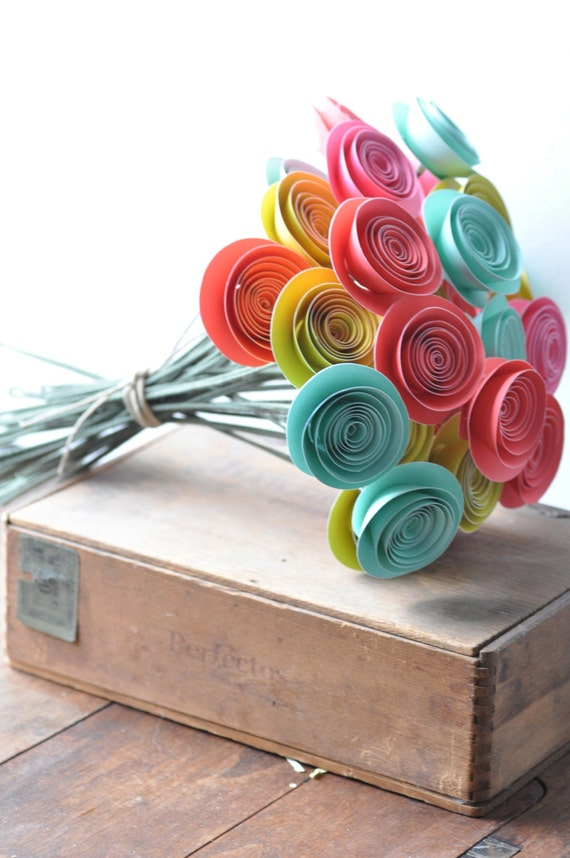 30 Bright Paper Flowers on Stems- Bouquet of Paper Flowers-  Home Decor