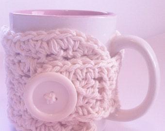 Crochet Coffee Cozy  Large Button Cream White Tan Tea Cozy Eco Friendly READY TO SHIP