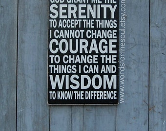 Serenity Prayer- Subway Art Typography Word Art Christian Wooden Sign Wall art