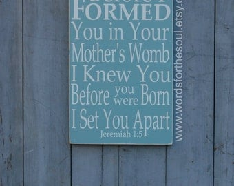 Jeremiah 1:5 - Bible Verse Wall Art - Rustic - Wood Signs - Scripture Wall Art - Christian Wall Art - I set You Apart - Nursery Scripture