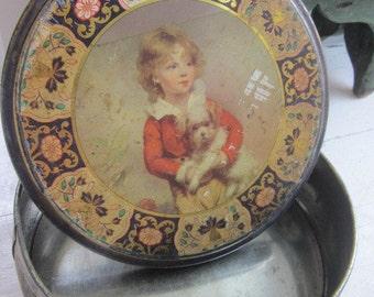 Vintage  Peek Frean  Co LTD Metal Biscuit Tin Boy & Dog Made England