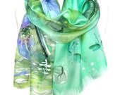 Anemone Hand Painted Scarf Blue Green Woman Birthday Gift Genuine Art. Silk Shawl. Anniversary Gift. Lake Reflection. 18x71in. MADE to ORDER