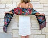 Ca. 50s - 60s Guatemalan Huipil Fringe Shawl Wrap Scarf Table Runner Tapestry Wall Hanging