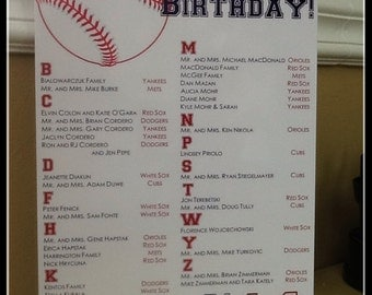 SPORTS THEMED Seating Chart - Personalize font, font color, background and text!  Any sport or theme!  Great for 1st Birthday/Bar Mitzvah