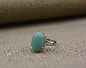 amazonite ring,blue amazonite,square pillow cabachon,oval stone ring,aqua ring,amazonite jewelry, handmade jewelry,handmade ring--size 7.5