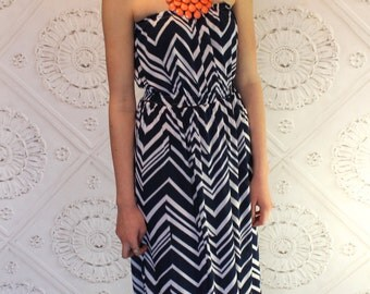 Nautical Navy  Blue and White Chevron Strapless Maxi dress for Women by GreenStyle