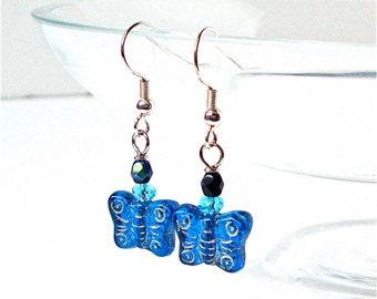 Blue butterfly earrings, glass butterfly earrings, butterfly jewelry, cobalt blue earrings, beaded earrings, summer accessories