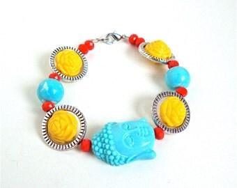 Buddha bracelet, buddha jewelry, colorful buddha jewelry, boho bracelet, yellow roses, blue buddha bracelet, karma jewelry
