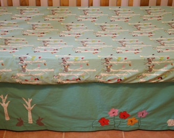 Organic Crib Skirt, Custom Crib Skirt:  Bunnies, Flowers, Toadstools, Birch Trees, Crib Bedding, Toddler Bedding, Crib Skirt