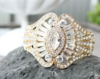 Gold Art Deco Wedding Cuff Bracelet, Gatsby Bridal Cuff Bracelet, Gold Crystal Bridal Cuff Bracelet, Art Deco Wedding Cuff