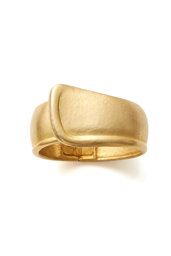 FINAL REDUCTION was 185 now 125 bold vintage 1980s VALENTINO brushed gold heavy cuff bangle