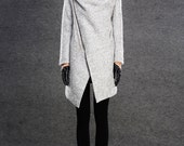 Modern Wool Gray Coat with Asymmetrical Front Zipper and Large Cowl Neck Collar - Women Autumn Winter Outerwear  C134