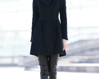 Black Fit & Flare Coat - Classic Warm Wool Winter Jacket with Large Lapels Pleated Skirt and Pockets Fully Lined Woman's Coat C161