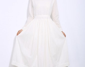 White linen dress maxi dress women dress C307