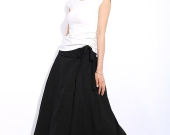 Long Skirt in Black Summer Linen Skirt C334