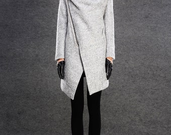 Coat, Asymmetrical coat, coats,  Modern Wool coat, Grey Coat, winter coat women, pale grey wrap long coat, Cowl Neck coat, outerwear  C134