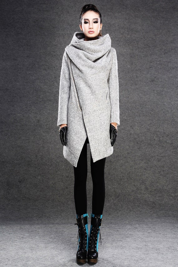 Modern Wool Gray Coat with Asymmetrical Front Zipper and Large   Etsy