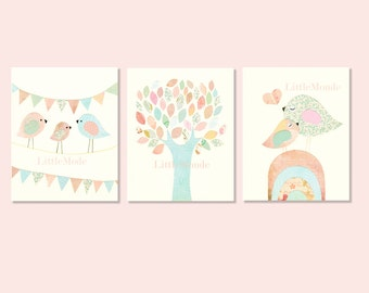 Baby Girl Nursery Prints, Nursery Art, French Nursery,Pastel Nursery Prints, SET OF 3 PRINTS, Birds,Tree, Shabby Chic, Sweet