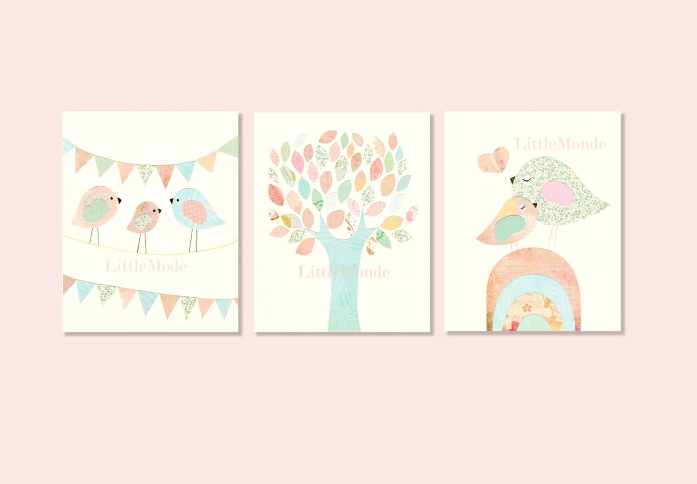 Baby girl nursery prints nursery art french nurserypastel for Baby girl nursery paintings