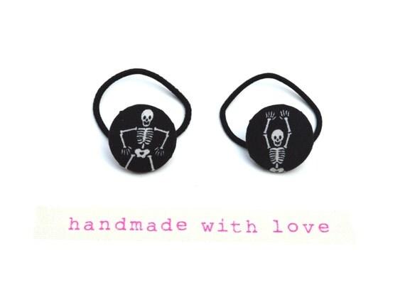 Halloween Hair Elastic / Skeleton Hair Tie /Button Hair Elastics/  Choose 1