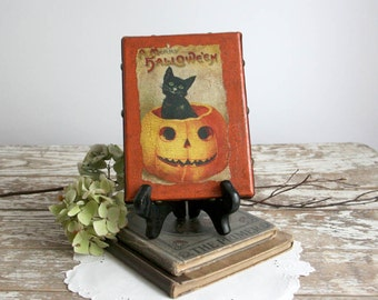 Vintage Style Halloween Decor orange black cat canvas frame antiqued country pumpkin 5x7 folk art primitive farmhouse cottage chic