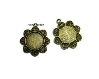 4 pcs Antique Bronze Vintage Copper Filled Flowers Edge Cameo Cabochon Base Settings inner 25mm - P59