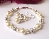 pearl bridesmaid jewelry set of 4, pearl wedding jewelry sets, bridesmaid bracelet, white ivory pearl jewelry, bridesmaid jewelry set of 4