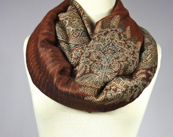 Fern infinity scarf in Rust , winter scarf