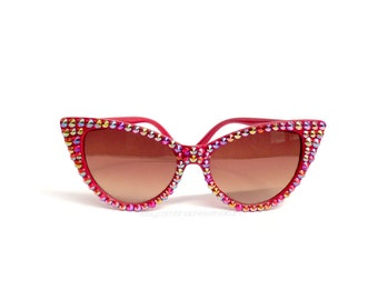 Red Rainbow Effect Cat Eye Glitzy Sunglasses - Sparkly Sunglasses - Rhinestone Cat Eye Glasses - Retro Pin Up Sunglasses - Rainbow Bling