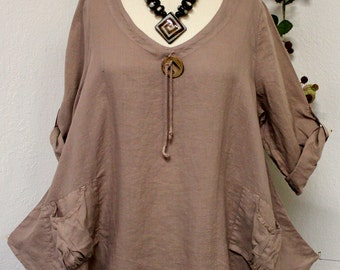 Gotta have Spring New Linen Oversized designer Lagenlook Tunic top with Front Pockets