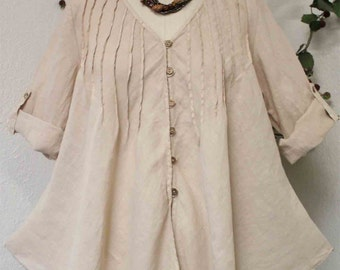 Cool and Dashing  New Linen Oversized designer Lagenlook Tunic top with Pintuck.