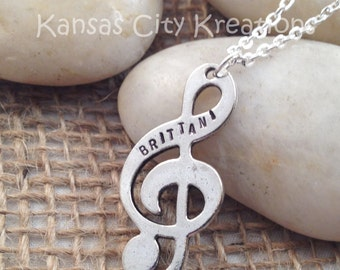 Hand Stamped Treble Clef Necklace