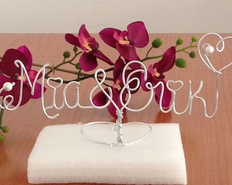 wedding Topper Cake - Wedding Cake Topper - Wire Cake Topper - Mr and Mrs Cake Topper - Personalized Cake Topper - Name Cake Topper