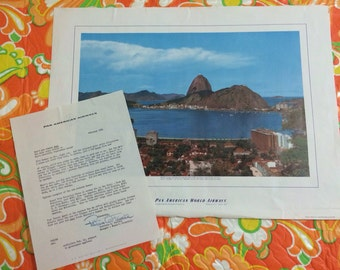 1961 Pan American Airways Letter with Brazil Poster