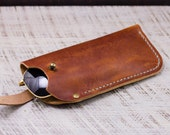 Leather Glasses Case // Horween Leather English Tan Dublin + Antique Brass Hardware // Personlized Gift with Custom Monogram