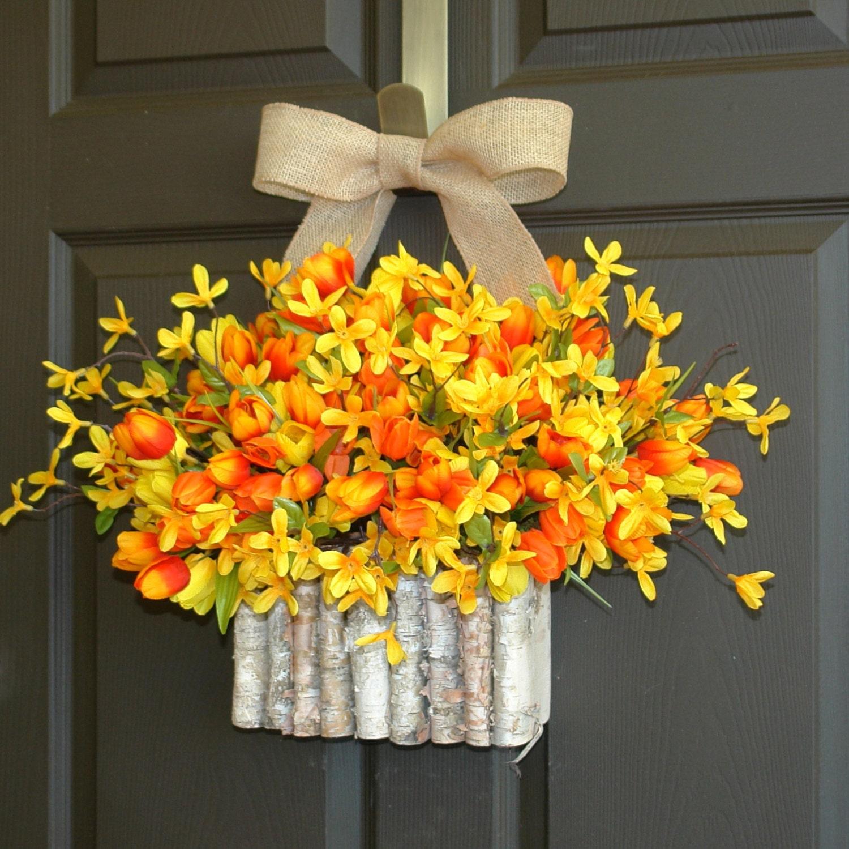 spring wreath easter wreath tulips front door by aniamelisa. Black Bedroom Furniture Sets. Home Design Ideas