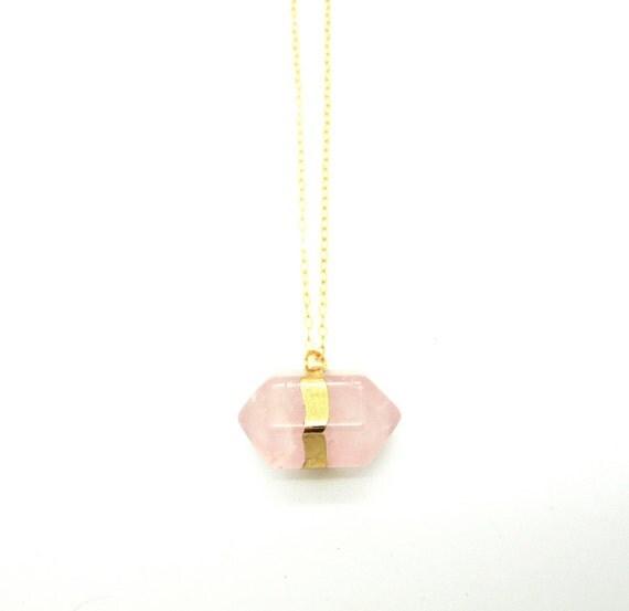 Petite Rose Quartz Necklace, Raw Rose Quartz Point Gold Filled