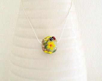 Lampwork Nature Necklace - Artisan handmade focal lampwork bead - spring flower nature - coloured flowers - ladybug pendant