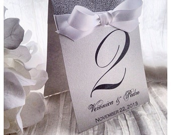 Wedding Table numbers, Silver glitter table number, table decor, Table names, silver wedding table decor