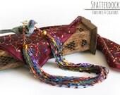 Art Yarn Necklace - Jewels - Colorful art yarn, toggle clasp, jewel tone teardrop & foil glass beads - fiber necklace, statement necklace