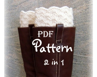 PDF CROCHET PATTERN - Make It Yourself:  Pattern for 2 in 1 Boot Cuffs, Crochet Boot Toppers, Digital Download, Lots of Photos