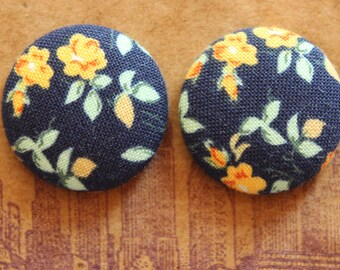 Button Earrings / Fabric Covered / Bulk Jewelry / Blue Floral Earrings / Gifts for Her / Small Studs