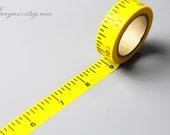 ON SALE Washi Tape - Japanese Washi Tape - Masking Tape - Deco Tape - Washi Paper - Filofax - Yellow Ruler