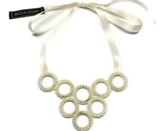 Geometric necklace / Crochet necklace / Bib necklace / Statement necklace / Cream crochet circles necklace / Rock chick / Cream necklace