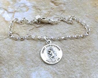 Sterling Silver Saint Christopher Charm on a Sterling Silver 3mm Rolo Bracelet - 1359