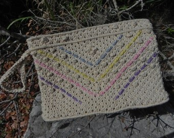 1970's Macrame Clutch With Pastel Colored Detail