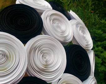 Paper Flower Bouquet - Black and White Paper Flowers - Handmade Rolled Paper Flower Bouquet for Brides, Weddings, Showers, Birthdays