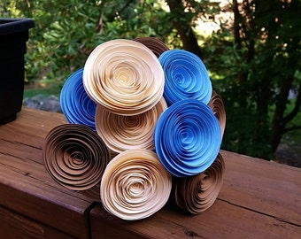 Paper Flower Bouquet - Baby Blue, Ivory and Light Brown - Handmade Paper Flowers for Brides, Weddings, Showers, Birthdays