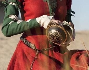 "Steampunk Bag ""The Alchemists daughter"" spherical magic wristlet leather bag"